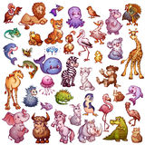 Vector set of cute animals for pets alphabet. Lion, rhino, giraffe and etc.  stock illustration
