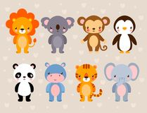 Vector set with cute animals. royalty free illustration