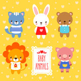 Vector set of cute baby animals. Stock Image