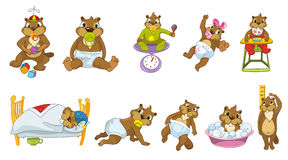 Vector set of cute baby beavers illustrations. Stock Photo