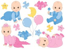 Vector Set of Cute Baby Boy and Baby Girl. Vector Baby Shower Royalty Free Stock Image