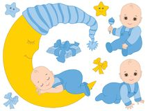 Vector Set with Cute Baby Boys, the Moon and Diapers. Vector set with cute baby boys, moon, bows, stars and diapers. Vector baby boy shower. Baby boy vector Royalty Free Illustration