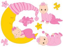 Vector Set with Cute Baby Girls, the Moon and Diapers Stock Photos