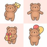 Vector set of cute bear characters vector illustration