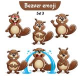 Vector set of cute beaver characters. Set 3. Set kit collection sticker emoji emoticon emotion vector isolated illustration happy character sweet, cute beaver Royalty Free Stock Photography