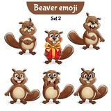 Vector set of cute beaver characters. Set 2. Set kit collection sticker emoji emoticon emotion vector isolated illustration happy character sweet, cute beaver Royalty Free Stock Photo