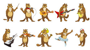 Vector set of cute beavers music illustrations. Royalty Free Stock Photo