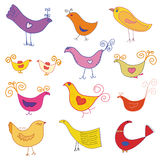 Vector set of cute  birds Royalty Free Stock Photography