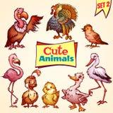 Vector set of cute birds. Turkey, goose, flamingo. And etc Royalty Free Stock Photo