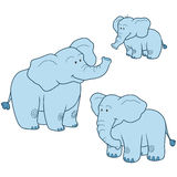 Vector set with cute blue elephants family. Vector color set with cute blue elephants family Royalty Free Stock Photo