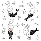 Vector set with cute bunnies mermaids.  vector illustration