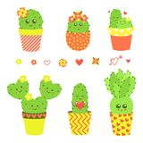 Vector set with cute cactus and flowers. Love. Royalty Free Stock Photo