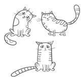 Vector set of cute cartoon cat in various poses. Stock Image