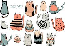 Vector set of cute cartoon cats. Collection of doodle kittens vector illustration