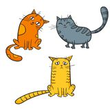 Vector set of cute cartoon cats in various poses. Stock Images
