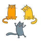 Vector set of cute cartoon cats in various poses. Vector set of cute cartoon cats in various poses isolated on white. Sketches style Royalty Free Stock Image