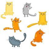Vector set of cute cartoon cats in various poses. Vector set of cute cartoon cats in various poses isolated on white Royalty Free Stock Photos