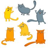 Vector set of cute cartoon cats in various poses. Vector set of cute cartoon cats in various poses isolated on white Royalty Free Stock Image