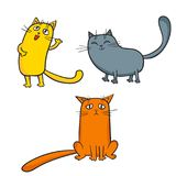 Vector set of cute cartoon cats in various poses. Vector set of cute cartoon cats in various poses isolated on white. Sketches style Royalty Free Stock Images