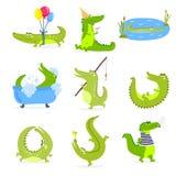 Vector set with cute cartoon crocodiles. Royalty Free Stock Photos