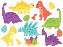 Vector Set of Cute Cartoon Dinosaurs and Eggs Stock Photos