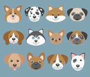 Vector set with cute cartoon dog puppies Stock Images