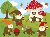 Vector Set of Cute Cartoon Forest Gnomes. Amanita house, trees, sky, clouds and butterflies . Vector gnome. Forest gnomes vector illustration Royalty Free Stock Images