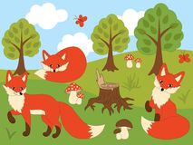Vector Set of Cute Cartoon Foxes. Vector set of cute cartoon red foxes, butterflies, mushrooms and trees. Vector fox. Foxes vector illustration Stock Photography