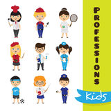 Vector set of cute cartoon kids in different professions. Children professions collection vector illustration
