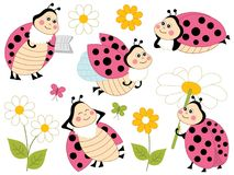 Vector Set of Cute Cartoon Ladybugs and Flowers. Vector set of cute cartoon ladybugs, flowers and butterflies. Vector cute ladybirds. Ladybugs vector Royalty Free Stock Photo