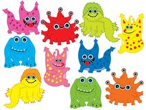 Vector Set of Cute Cartoon Monsters. Vector colorful monsters with different emotions. Vector monster. Monsters vector illustration Royalty Free Stock Photography