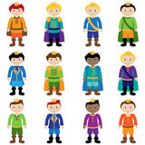 Vector Set of Cute Cartoon Princes. Or Kings Royalty Free Stock Photography