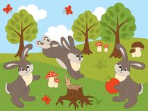 Vector Set of Cute Cartoon Rabbits. Vector set of cute forest rabbits, butterflies, mushrooms and trees. Vector rabbit. Rabbits vector illustration Stock Photo