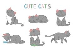 Vector set of cute cartoon style cat in different poses stock illustration