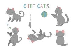 Vector set of cute cartoon style cat in different poses royalty free illustration