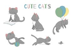 Vector set of cute cartoon style cat in different poses vector illustration