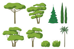 Vector set of cute cartoon trees isolated on white background. Royalty Free Stock Photo