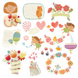 Vector set with cute characters Royalty Free Stock Photography