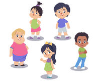 Vector set of cute children isolated on white background. Cartoon characters standing in different postures. Smiling, joyful little boys and girls, different Stock Photo