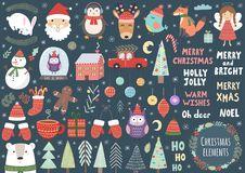 Vector set of cute Christmas elements. Santa, penguin, deer, bear, fox, owl, trees and more Stock Photo