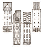 Vector set of cute colored hand-drawn tiled houses royalty free illustration
