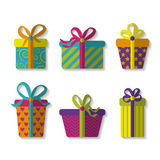 Vector set of cute colorful gift boxes Stock Image
