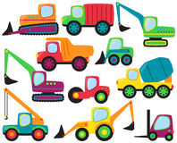 Vector Set of cute Construction Vehicles. And Heavy Equipment Royalty Free Stock Photo