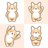 Vector set of cute corgi dog characters royalty free illustration