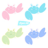 Vector set of cute crabs in patchwork style. Blue, pink purple and green Royalty Free Stock Photos