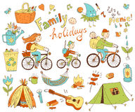 Vector set of cute doodle family and holidays. Equipment for cam Royalty Free Stock Photo