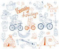 Vector set of cute doodle family and holidays. Equipment for cam Stock Images
