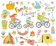 Vector set of cute doodle family and holidays. Equipment for cam Royalty Free Stock Image