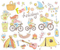 Vector set of cute doodle family and holidays. Equipment for cam Stock Image