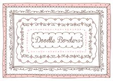 Vector set of cute doodle frames and borders. Hand drawn design element for little princess. vector illustration